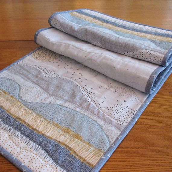 Quilted Tablerunner Grey And Blue Table Runner Modern Home