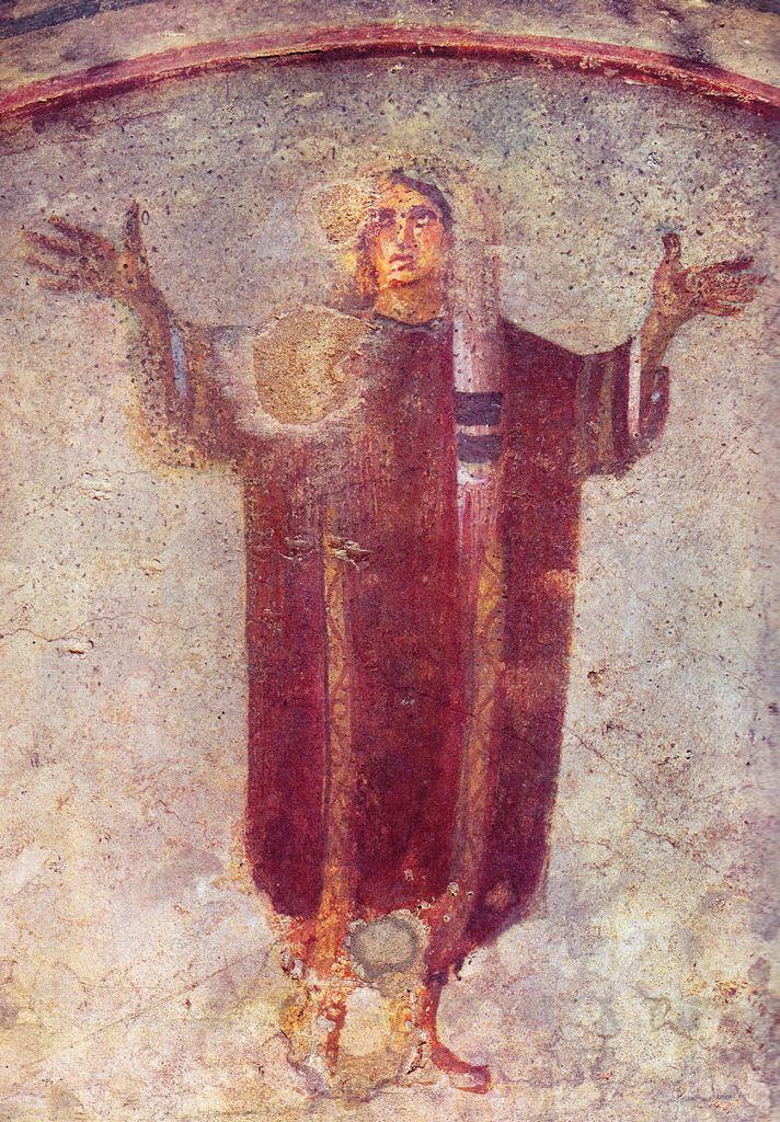 Orans, IV BCE. Catacombe di Priscilla, Roma. Culture roman christian