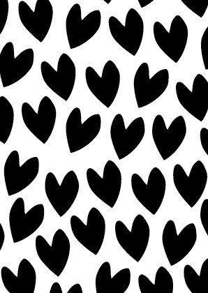 Zwart wit postkaart A6 hartjes
