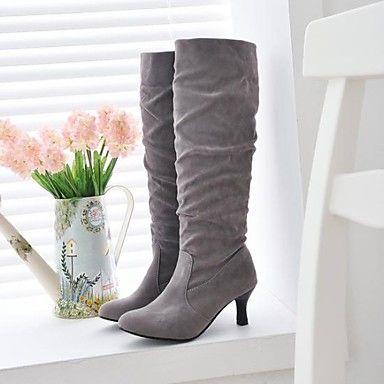 carretel de calcanhar meados de bezerro botas femininas camurça botas de montaria (mais cores) – BRL R$ 61,58