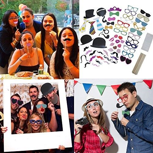58 Piece Photo Booth Props DIY Kit Party Favor Dress Up Accessories For...
