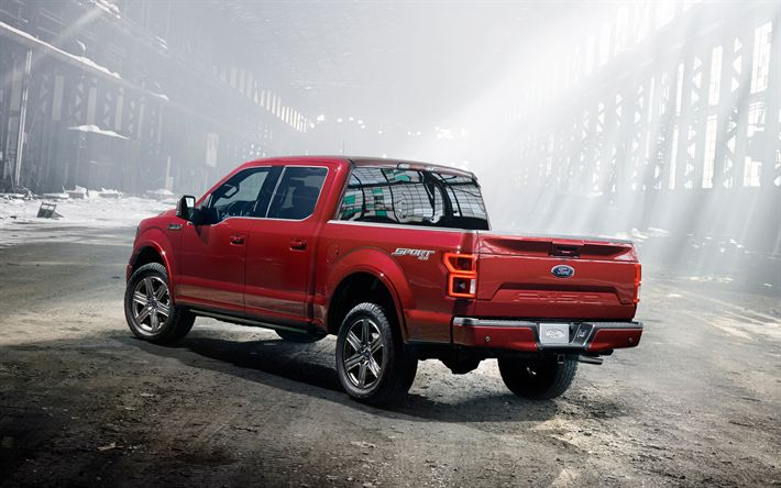 Download wallpapers Ford F-150, 2018, Rear view, red F-150 pickup, new cars, American cars, Ford
