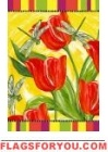 Tulips and Dragonflies Garden Flag