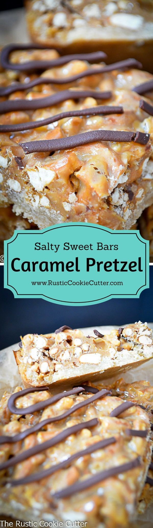 Chewy, Crunchy, Salty, Sweet Caramel Pretzel Bars The perfect combination in one bite!