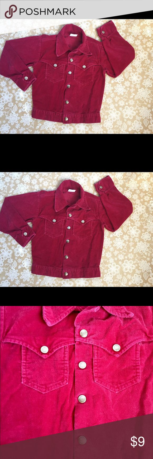 Billy the Kid washable burgundy corduroy jacket Billy the Kid washable burgundy corduroy jacket has snap closure and two front packers. Great little details make this an amazing piece in every girl's closet! Jean jacket type style. Billy the Kid Jackets & Coats