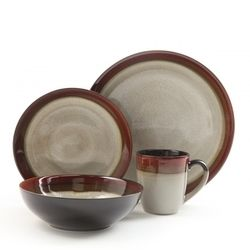 Gibson Couture Bands 16pc Dinnerware Set- Cream with Red Rim D970-91228.16