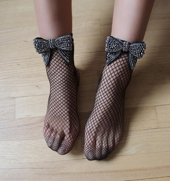 New Womens Beaded Fishnet Retro Bow Socks Ankle High Trendy Socks Stockings