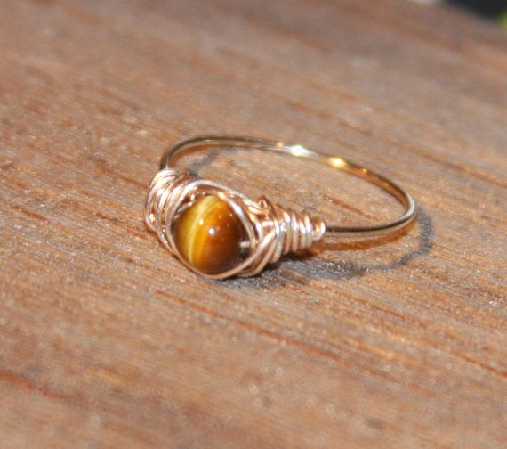 Tigers Eye Ring Wire Wrapped Thin Ring by BirchBarkDesign, $14.95