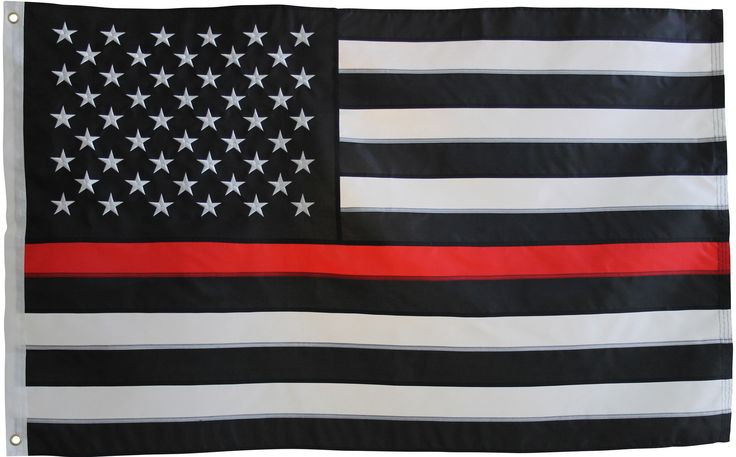 Thin Red Line Flag - 3X5 Foot with Embroidered Stars and Sewn Stripes - Black White and Red American Flag Honoring Firefighters and EMTs