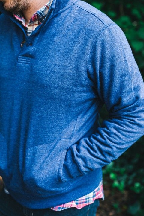 Stylish men's pullover by Buffalo Jackson Trading Co. Just right for a fall afternoon of tailgating or a cool night on the town. Button-up placket, sherpa-lined stand up collar, front pockets. Also available in Moab. Shown here in Montana Sky.