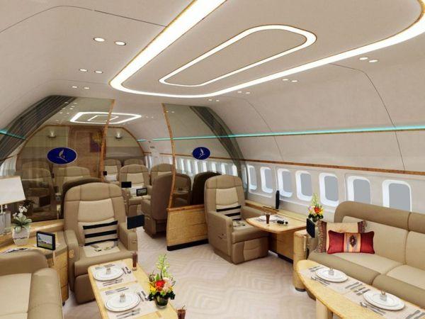 le plus luxe jet privé , siège en cuir, fleurs, grand canapé