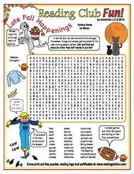 LATE FALL Happenings Word Search Puzzle - Learn about activities and changes surrounding the end of fall, and how people are getting ready for winter, by circling all the late fall words in this word search puzzle!