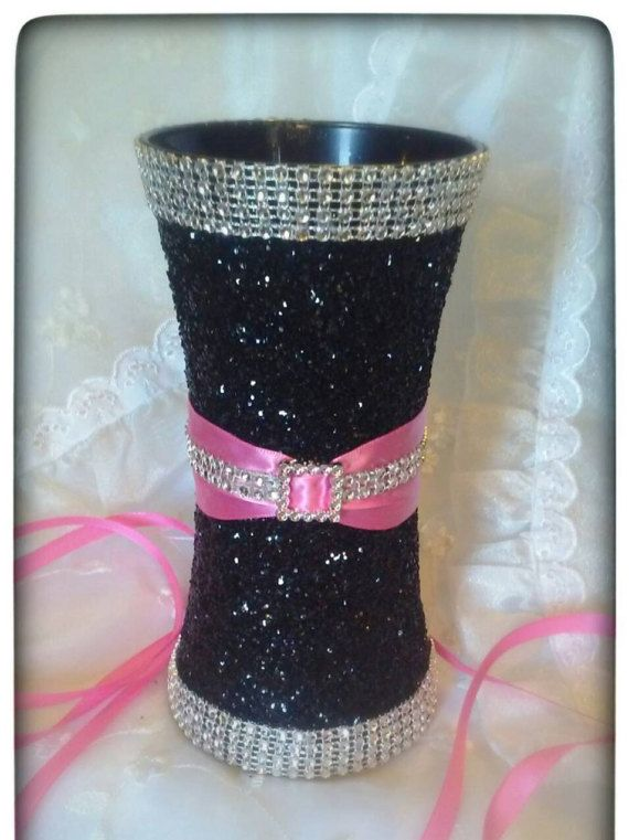 Hot pink and black glitter & bling vase for by JuicyBalloons