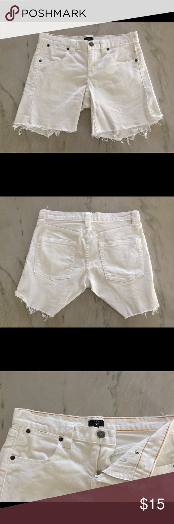 """J Crew Women's Stretch White Jean Shorts Very gently worn J Crew White Denim Cut Off Shorts. This is a 5 pocket Short that has plenty of stretch. They are made of cotton and spandex. I see zero spots or stains. Length 15"""" Inseam 6"""". This is not a """"short short"""" J. Crew Shorts"""