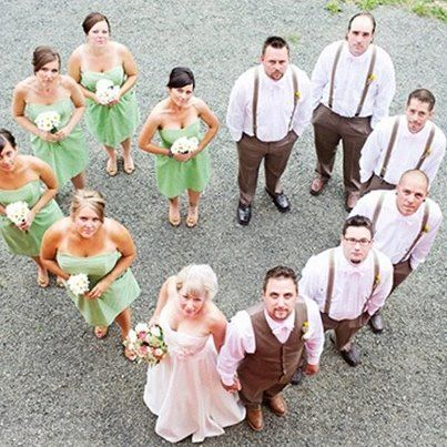 Awesome wedding photo-op. Suggestions from Ashley I: put bride and groom in the dip. Also do this with Bride and Groom's families