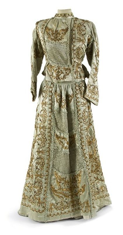 Bridal ensemble (skirt + long-sleeved bodice).  Late-Ottoman, mid-19th century.  From Istanbul or Izmir.  Goldwork embroidery on light blue silk.