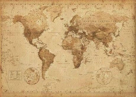 Wereldkaart - antieke stijl