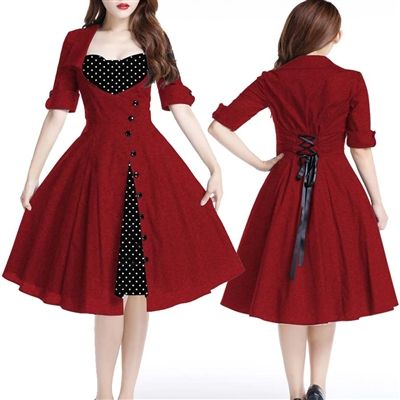 Rockabilly Super Cute and figure flattering Dress! XS to 4x #rockabillydress#rockabilly#pinupdress#pinupclothing