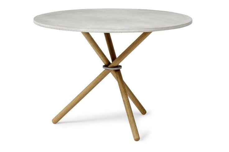 Pautistan EH Coffee Table - EH2  Concrete table top, fumed oak legs and glass blasted steel ring. #coffeetable #table #concrete #concretetable  #steel #oak #oaklegs #eberhartfurniture