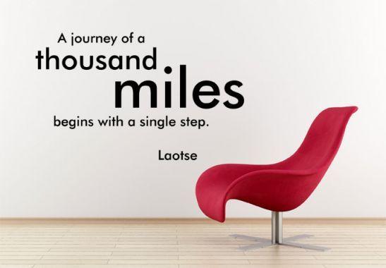Muurstickers - Muursticker A journey of a thousand miles...