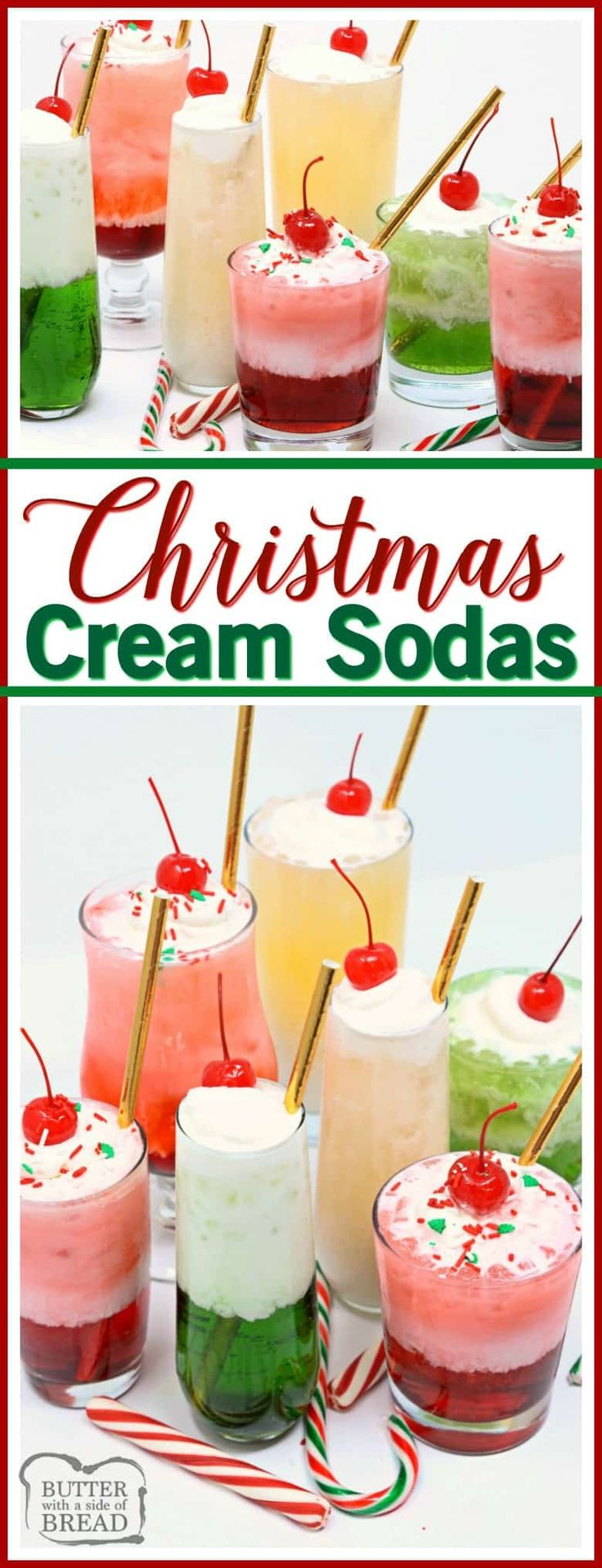 Christmas Cream Sodas made with sweet syrups, cream & club soda are a delicious & festive addition to any holiday party!