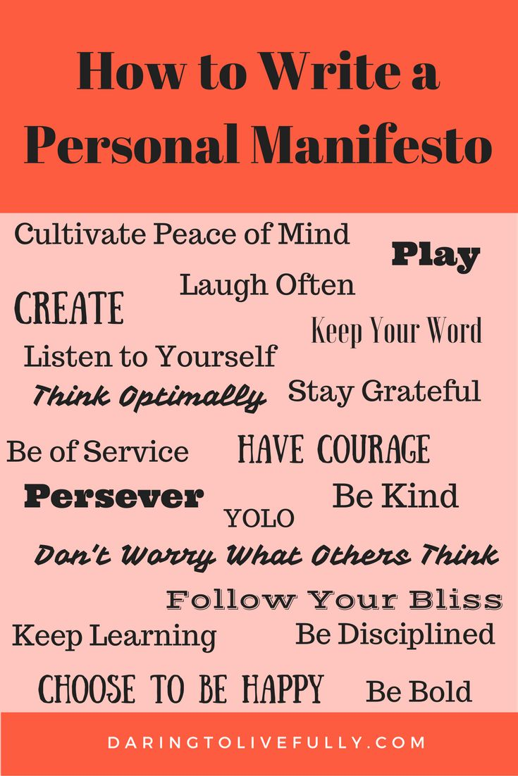 writing a manifesto A personal manifesto is a declaration of your core values and beliefs, and how you intend to live your life here's how to write a personal manifesto.