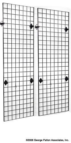 2u0027 x 6u0027 wall mounted gridwall panels set of 2 black store fixtures and wall mount