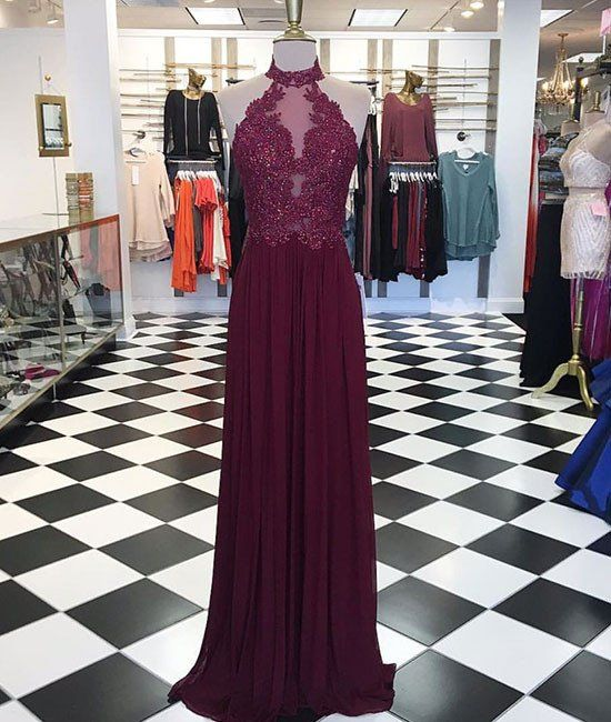 2017 New Arrival burgundy maroon hight neck lace long prom dress, maroon evening dress
