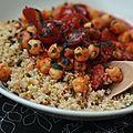 Ragoût de chorizo, pois chiches et tomates cerises, pilaf de boulgour comme un…