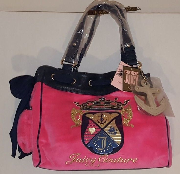 NWT JUICY COUTURE PASS PINK NAUTICAL CROWN LOGO LARGE PURSE MSRP $198.00 #JuicyCouture #Satchel