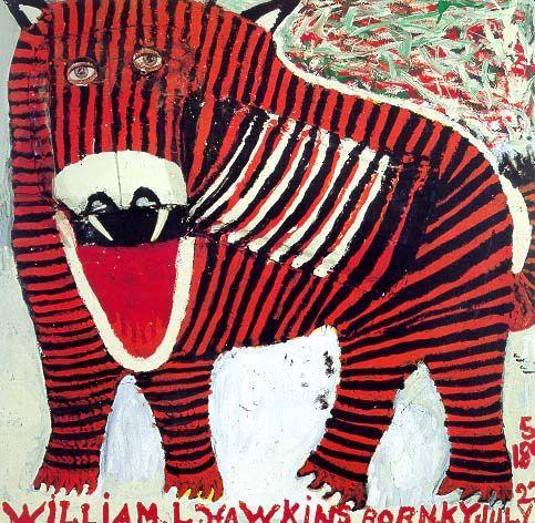 William L. Hawkins' contribution to 'Outsider art'  Tasmanian Tiger #3  1989  at Ricco/Ma