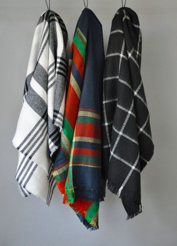 30% Last Chance Sale Blanket Scarf Gift for Her FREE SHIPPING Plaid Scarf Check…