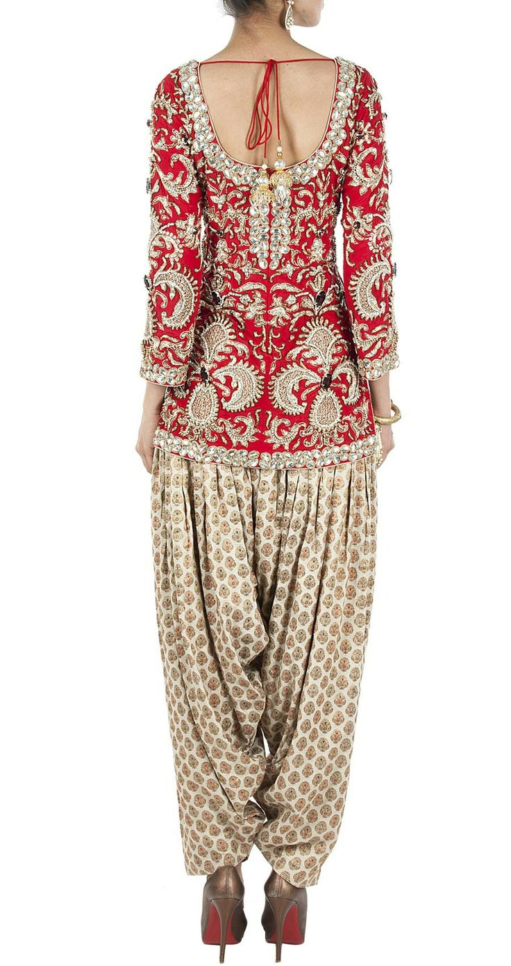 PAYAL SINGHAL Red and beige embellished kurta set