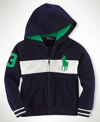 Polo Ralph Lauren Kids Sweatshirt, Boys Long Sleeve Chest Stripe Full-Zip Hoodie - Kids Boys 8-20 - Macy's