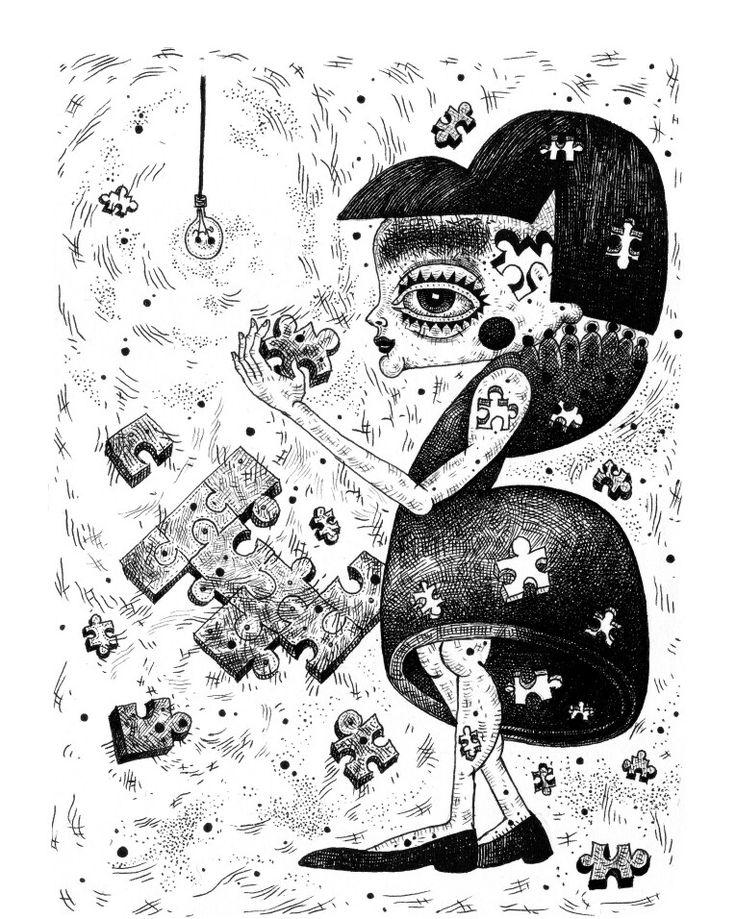 #ink #puzzle #girl #artsy #instaartsy #drawing #sketchbook #illustrator #illustration #iuliaignatillustration #lmrignat #behancereviews #behance #drawingoftheday #artoftheday #characterdesign #blackandwhite #illustagram