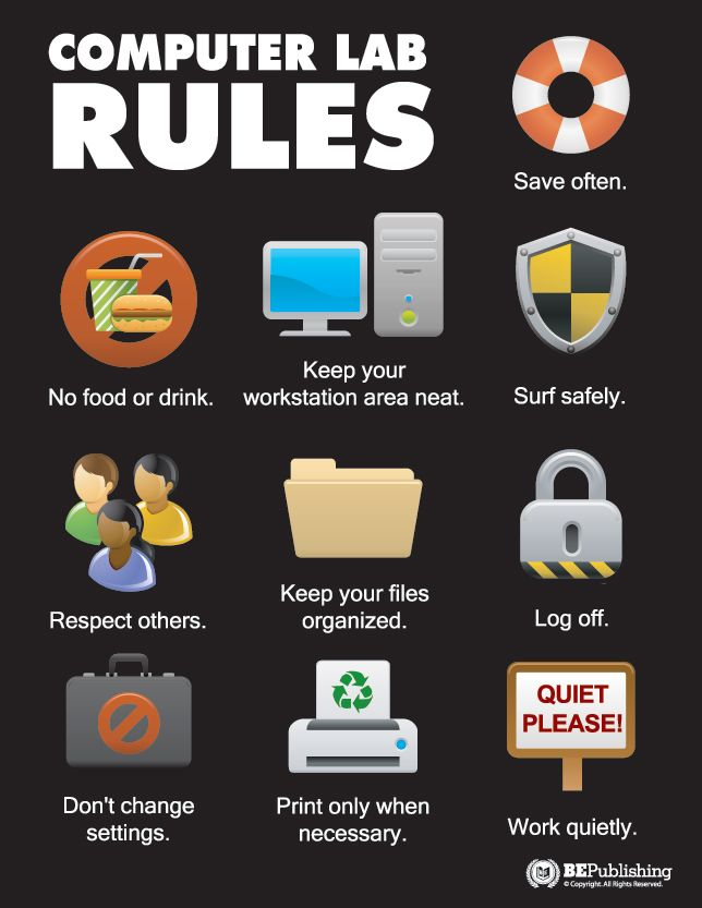 Computer Lab Rules --- Business Education Publishing Posters...really like, can adapt for my digital classroom. More