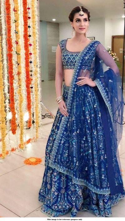 622f6bbeaa Bollywood Kriti Sanon Royal blue tafetta silk Lehenga choli Bridal Lehenga  Choli, Lehenga Wedding,
