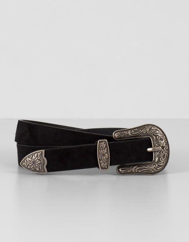 Pull&Bear - mujer - accesorios - cinturones - cinturón básico western - negro - 09870308-I2016