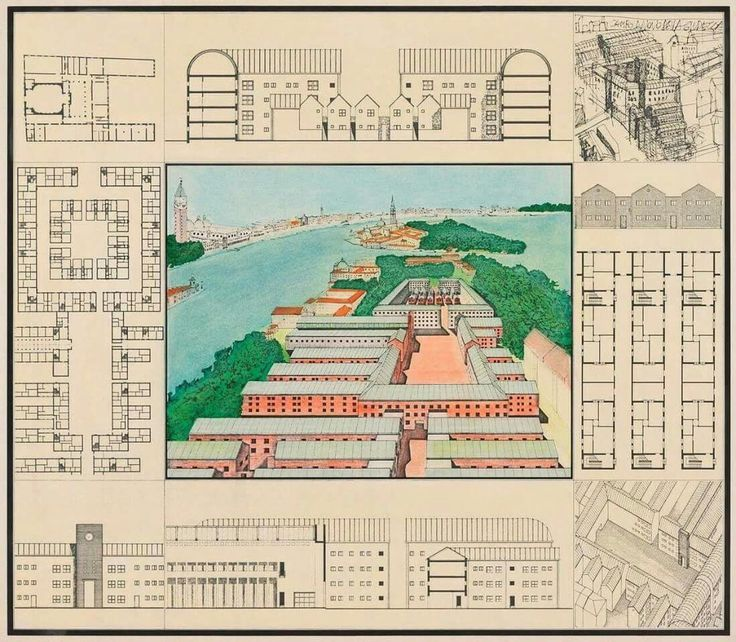 Aldo Rossi, Project for redevolopment of the Campo di Marte area of La Giudecca, Venice, 1985