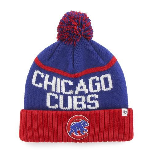 Chicago Cubs Beanie '47 Brand Linesman Knit Hat. The hat features a woven graphic pattern with a large team color pom up top. The Chicago cap features a raised embroidered logo on the front of the ela