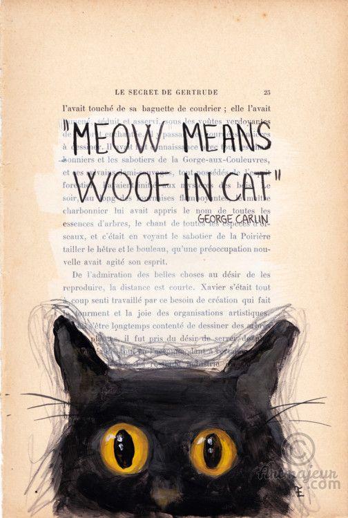 MEOW- VENDU - SOLD - Peinture,  19x28,5 cm ©2015 par evafialka -                                                                                    Art figuratif, Impressionnisme, Papier, Animaux, Chats, cat, chat, meow, dog, quotes, painting, vintage paper