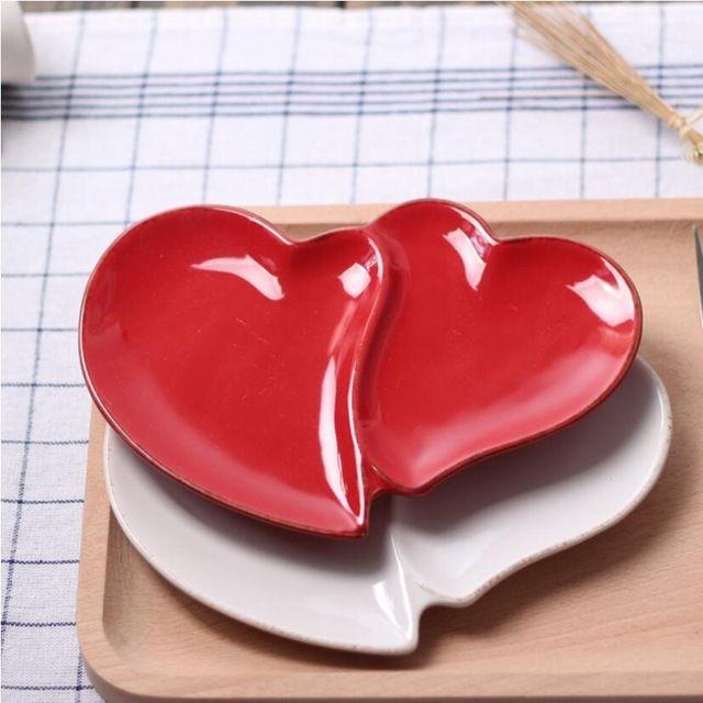 Beyaz Düzensiz Seramik tatlı Çanak Kırmızı kalp-şekilli çanak salata Tabağı çatal severler tema restoranlar aperatif Meyve çanak