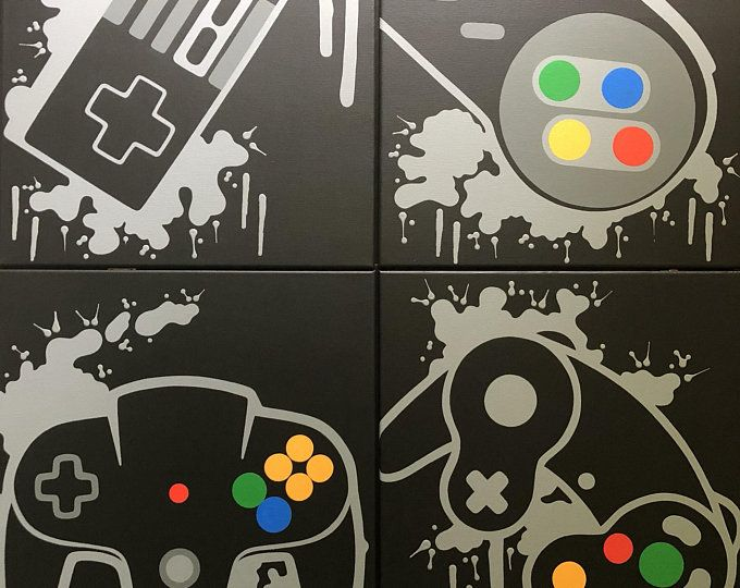 Playstation video game controller painting, video game art, hand drawing, custom color, custom wall   – Ideas for the House