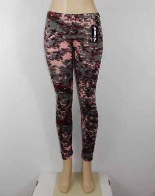 Just Cozy Size 00-04 Mink Fur Lined Low Rise Pixel Camo Leggings Spandex Pants