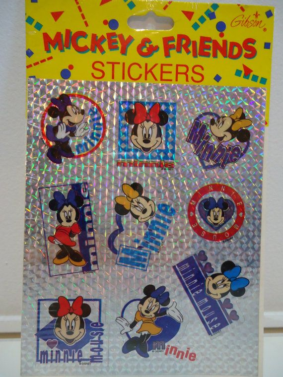 Official Disney Mickey & Friends Colorful Hologram Stickers featuring Retro 90s Minnie Mouse Decals! New In Unopened Package, 1 Sheet with 9 Decals