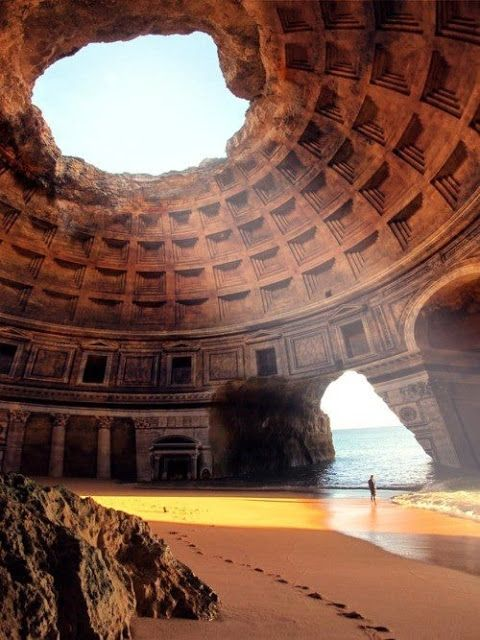 A photoshopped image of the Pantheon superimposed on Benagil Cave, in Algarve, Portugal. NOT The Forgotten Temple of Lysistrata - Greece :-(