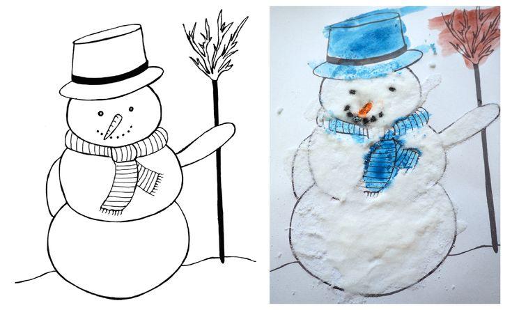 bałwanek do kolorowania, kolorowanki dla dzieci, pliki do pobrania, zimowe prace plastyczne.