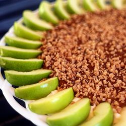 Caramel Apple Dip  Ingredients:  16 ounces Philadelphia 1/3 Less Fat Cream Cheese, Softened  ½ cups Powdered Sugar  16 ounces Old Fashioned Caramel Apple Dip   1 cup Heath Bits-O-Brickle Toffee Bits  4  Large Granny Smith Apples, Sliced Thick