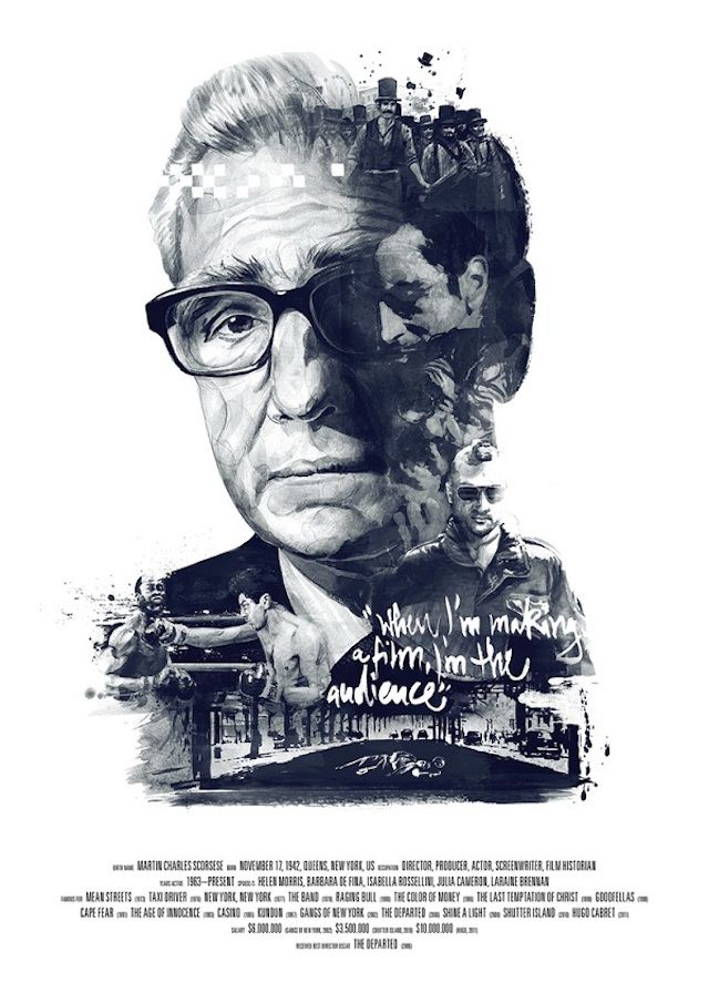 "German illustrators Julian Rentzsch and Stellavie Design Manufaktur have collaborated to pay tribute to three famous directors Martin Scorsese, David Lynch and Alfred Hitchcock, through their posters ""Movie Director"". The prints shows a portrait of the director with symbolic patterns belonging to his filmography and a quote."
