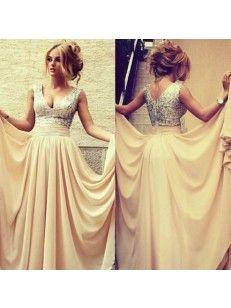 V-neck A-line/Princess Sleeveless Floor-length Chiffon Dress